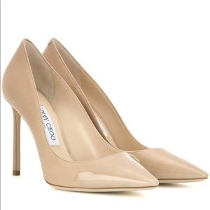 Jimmy Choo Romy 100 Patent Leather Nude Pump